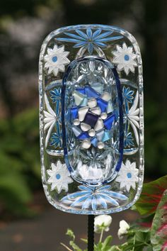 Glass Plate Garden Art  Yard Art Sun Catcher  on by GlassBlooms, $40.00