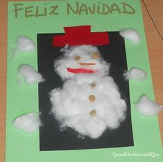Manualidades con mis hijas: Muñeco de nieve con algodón. Kids Craft. Winter. Snowman. Cotton. Card. Christmas