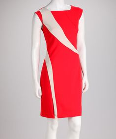 Take a look at this Orange & Stone Stripe Cap-Sleeve Dress by Sharagano on #zulily today!
