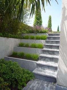 Exterior Stairs Concrete Grass Ideas For 2019 Garden Stairs, Terrace Garden, Small Terrace, Garden Beds, Landscape Architecture, Landscape Design, Garden Design, Fashion Architecture, Modern Landscaping