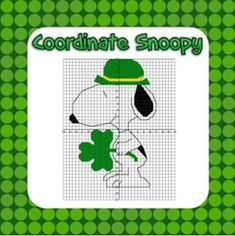 Snoopy St. Patrick's Day Coordinate Picture - Your kids will love plotting points in all 4 quadrants, to create a fun St. Patrick's Day picture.  Check out my shop for Valentine's Day, Christmas, Halloween, and Easter pictures too!.  A GIVEAWAY promotion for Snoopy St. Patrick's Day Coordinate Graphing Fun! - Ordered Pairs, all 4 Quadrants from Mathematic Fanatic on TeachersNotebook.com (ends on 3-12-2015)