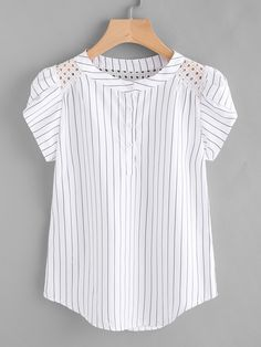 Material: Polyester Color: White Pattern Type: Striped Collar: Band Collar Style: Casual, Work Type: Equipment Decoration: Button Sleeve Length: Short Sleeve Fabric: Fabric has no stretch Season: Summer Shoulder(Cm): S:33cm, M:34cm, L:35cm, XL:36cm Bust(Cm): S:90cm, M:94cm, L:98cm, XL:102cm Length(Cm): S:61cm, M:62cm, L:63cm, XL:64cm Sleeve Length(Cm): S:11cm, M:12cm, L:13cm, XL:14cm Size Available: S,M,L,XL