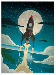 """Rocket to the Moon"" by Alex Asfour, BIG 18X24 poster print, great quality paper, donated by the artist!"