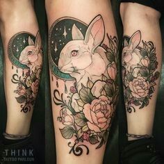 Neo traditional rabbit - I love the colors                                                                                                                                                                                 More