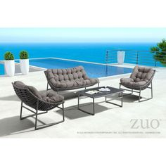 Kiss your productivity goodbye with the deep, plush cushions of the Ingonish Beach series. You won't ever want to leave the cozy embrace of this set's chair and sofa. Plus, the coffee table will keep your snacks nearby. Contemporary Outdoor Chairs, Modern Outdoor Furniture, Beach Sofa, Beach Chairs, Coffee Table Grey, French Furniture, Velvet Furniture, Steel Furniture, Accent Furniture