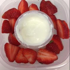 Organic strawberries with dip made of lite cream cheese and marshmallow fluff!  It's one of my rare but favorite dips!