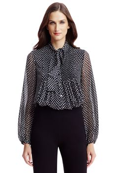 DVF Marjorie Polka Dot Tie Neck Chiffon Blouse in dotted batik tiny black