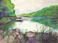 Tisza - aquarelle - 21 x 30 cm - by Márta Bolla - Hungary Landscape Photos, Landscape Paintings, Hungary, Watercolor, Artworks, Pen And Wash, Watercolor Painting, Watercolour, Landscape Pictures