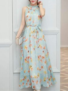 FloryDay / Casual Floral Sashes Wrap X-line Dress Stylish Dresses, Casual Dresses, Short Dresses, Fashion Dresses, Summer Dresses, Maxi Dresses, Summer Maxi, Chifon Dress, Floral Chiffon Maxi Dress