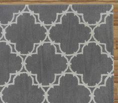Trellis Gray Contemporary Style Handmade Woolen Area Rug Carpet
