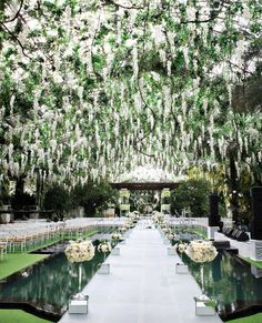 Stunning floral canopy and elevated aisle to make a grand entrance.