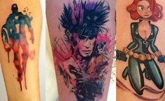 31 Marvel Tattoos That Will Make You Want To Be A Superhero  Love the watercolor Cap tattoo