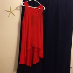 Red chiffon dress Never worn. Good with a slip under it. The fabric is see through Pearl Dresses High Low