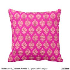 Fuchsia,Gold,Damask Pattern Throw Pillow