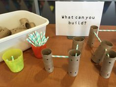 Homemade tinker toys in the library - Use toilet paper or paper towel tubes and straws to make your own building components for a library center!
