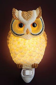 Horned Owl Night Light Pinned by www.myowlbarn.com