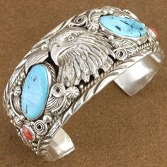 Big Boy Turquoise Coral Solid Sterling Silver Traditional Turquoise Bracelet by Peter Hackert $880.00 #alltribes