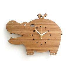 Modern Bamboo Hippo wall clock for children's room