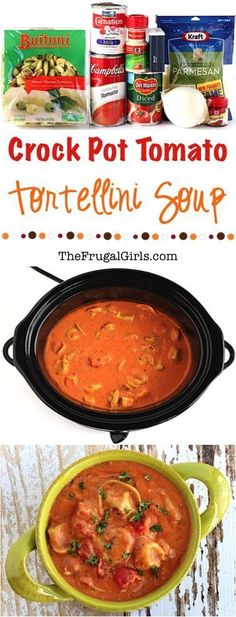 Crock Pot Tomato Tortellini Soup Recipe! ~ from http://TheFrugalGirls.com ~ this is the perfect, delicious gourmet soup for a chilly night's dinner, and it is so EASY to make, too!  Go grab your Crockpot!!