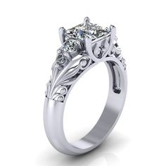 Art Deco Ring -  Antique Style Sterling Silver Princess Cut   Floral  Engagement  Wedding Anniversary and Promise Solitaire Ring