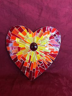 Colorful Mosaic Heart in Primary Colors and Circle Motif Lovely