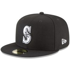 07779dfaf6f Men s Seattle Mariners New Era Black Basic 59FIFTY Fitted Hat Size 7 3 8  https