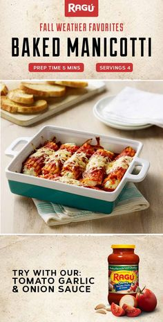 As the days get shorter, we're starting to gather some of our favorite fall recipes. This warm Baked Manicotti is perfect for an easy and satisfying weeknight meal. Five minutes of prep time, four ingredients and a whole bunch of deliciousness. Baked Manicotti, Manicotti Recipe, Prego Recipe, Quick Meals, Easy Dinners, Pasta Sauce Recipes, Asian, Diy Food, Pasta Dishes