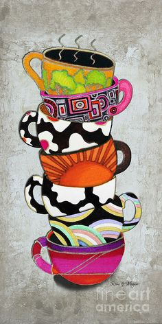 Colorful Coffee Cups Mugs Hot Cuppa Stacked I By Romi And Megan Painting  - Colorful Coffee Cups Mugs Hot Cuppa Stacked I By Romi And Megan ...