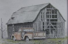 Barn pencil drawing Gone But Not Forgotten  by m3DrawingsPlus, $119.00
