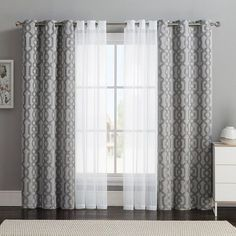 Vcny 4-pack Barcelona Double-Layer Curtain Set, Gray ($32) ❤ liked on Polyvore featuring home, home decor, window treatments, curtains, grey, jacquard curtains, grommet window panels, window curtains y gray window curtains
