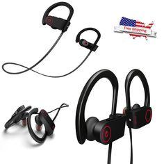 Waterproof Bluetooth Earbuds Beats Sports Wireless Headphones w/ Mic Black New #Otium