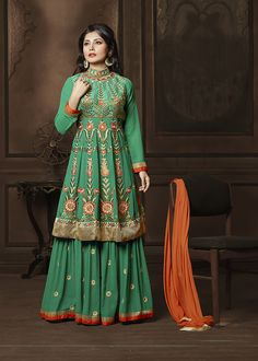#Rimi #Sen In #Semistitched #Parrot #Green #Palazzo #Suit #nikvik  #usa #designer #australia #canada #freeshipping #pakistanisuit #bollywood