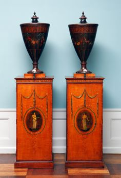 Consoles w/ urns iron and painted maple. England, c.1770