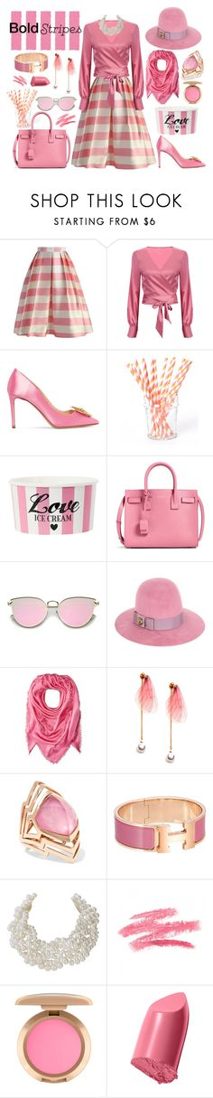 """""""Candy-Striper"""" by yournightnurse ❤ liked on Polyvore featuring Chicwish, Nicholas Kirkwood, Beve, Yves Saint Laurent, Gucci, Marc Jacobs, Stephen Webster, Humble Chic, Bobbi Brown Cosmetics and BoldStripes"""