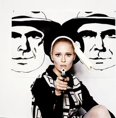 Faye Dunaway in publicity photos for the film Bonnie and Clyde.  Photo by Milton Greene,1967.