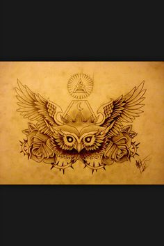 I like the all seeing eye above the owl, and how the owls head is lower than it's spread wings, I also like the idea of the two roses