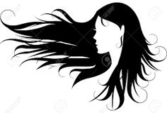 Pretty Lady with Long Hair Silhouette Black and White