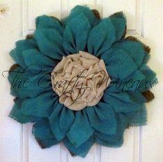 Jade Blue Flower Burlap Wreath, Sunflower, Spring Wreath, Summer Wreath, Customizable Wreath - pinned by pin4etsy.com