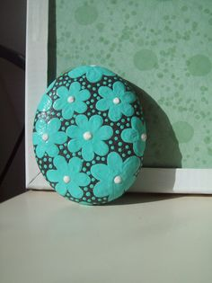~Seafoam Daisy Hand Painted Stone by CheeryGiftsAndDecor on Etsy. , via Etsy.~