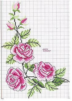 ru / Фото - ROSES 1 - aaadelayda by Catherine Warren Hillis Cross Stitch Rose, Cross Stitch Borders, Cross Stitch Flowers, Cross Stitch Charts, Cross Stitch Designs, Cross Stitching, Cross Stitch Embroidery, Embroidery Patterns, Hand Embroidery
