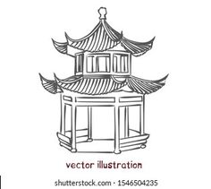Chinese Pagoda, Plum Flowers, Illustrations, Learn To Paint, Chinese Art, Bro, Landscape Paintings, Drawings, Anime