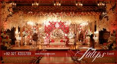 Red Crystal Wedding Setup Stage Decoration wedding themes in Pakistan. Tulips gives you astonished feel to your wedding events in Pakistan. Stage floral arragements, entrance, table centerpirces, walkway, ambience lights and more. Luxury Wedding Decor, Gold Wedding Theme, Wedding Set Up, Wedding Themes, Wedding Events, Wedding Ideas, Head Table Wedding Decorations, Indian Wedding Decorations, Pakistani Wedding Stage