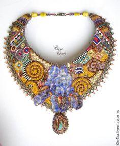 Купить По Климту - разноцветный, Климт, ирис, колье с цветком, ольга орлова, опал натуральный