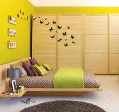 Butterfly Wall Murals in Small Japanese Bedroom Interior Furniture Decorating Designs Ideas Small Bedroom Ideas with Cozy Furniture and Wall Stickers Decoration