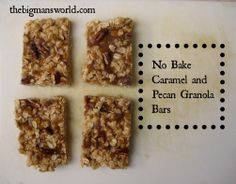 Healthy No Bake Caramel Pecan Granola Bars- made with wholesome ingredients and with a protein option- perfect 'on the go' snacking!