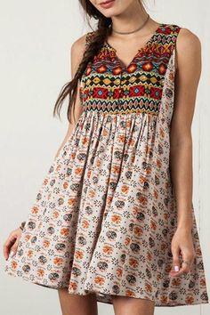 Umgee USA Sleeveless Peasant Dress