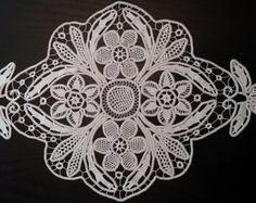 Centerpiece Doily Romanian Point Lace Style by ValeriasShop