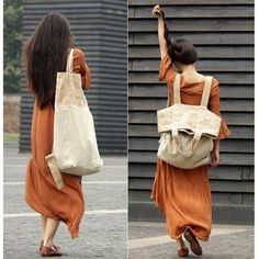 Diferente e charmosa! Uma sacola/bolsa&#x2 F;saco feita com tecido rústico o que inclui o linho. Pode ser carregada nas costas como se fosse mochila, no ombro ou mãos. Achei bem interessante e tam…