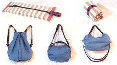 折りたたみ 3way バッグの作り方 / Fold-able 3 way Bag Tutorial Japanese Sewing Patterns, Diy Bags Purses, Craft Bags, Diy Sewing Projects, Fabric Bags, Love Sewing, Backpack Bags, Bag Making, Fashion Bags