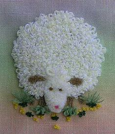 Needle Punch Embroidery Sheep on colored background Punch Needle Patterns, Embroidery Patterns Free, Embroidery Needles, Silk Ribbon Embroidery, Embroidery Applique, Embroidery Designs, Sunburst Granny Square, Granny Square Blanket, Sheep Crafts